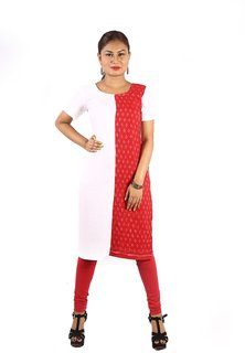 Trenditional Ikat/Sambalpuri Round Neck Half Sleeve Handloom White Red Kurti For Women'S