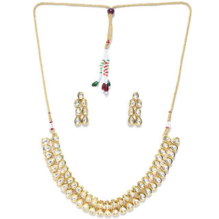 Jewels Galaxy Elegant Kundan Studded Delicate Design Gold Plated Traditional Necklace Set For Women/Girls