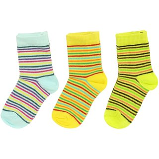 Neska Moda Cotton Crew Length Multicolor Kids 3 Pair Socks For 2 To 4 Months