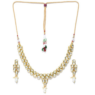 Jewels Galaxy Attractive Kundan Studded Exquisite Design Gold Plated Traditional Necklace Set For Women/Girls