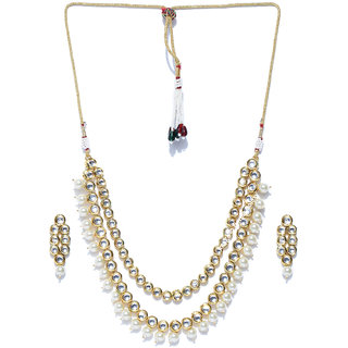 Jewels Galaxy Graceful Kundan  Pearls Studded Magnificent Gold Plated Traditional Necklace Set For Women/Girls