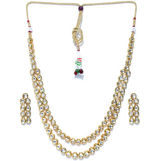 Jewels Galaxy Exclusive Kundan Studded Elegant Gold Plated Traditional Necklace Set For Women/Girls/Wedding