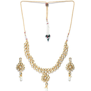 Jewels Galaxy Delicate Kundan Studded Florets Design Attractive Gold Plated Traditional Necklace Set For Women/Girls