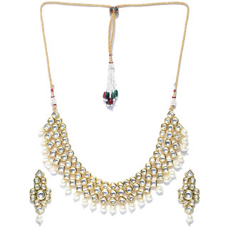 Jewels Galaxy Elegant Kundan  Pearls Studded Delicate Multi-Strand Gold Plated Traditional Necklace Set For Women/Girls