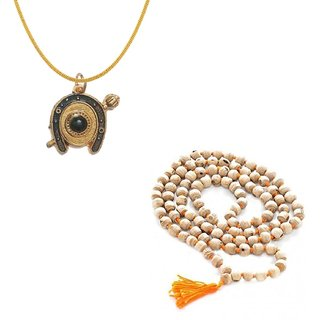Shani Locket With High Quality Gold Plated Brass Chain with Tulsi Mala 108+1 Beads