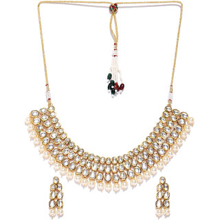 Jewels Galaxy Exclusive Kundan  Pearls Studded Elegant Multi-Strand Gold Plated Traditional Necklace Set For Women/Girl