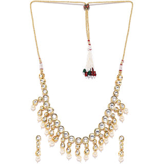 Jewels Galaxy Graceful Kundan  Pearls Studded Light Weight Gold Plated Traditional Necklace Set For Women/Girls