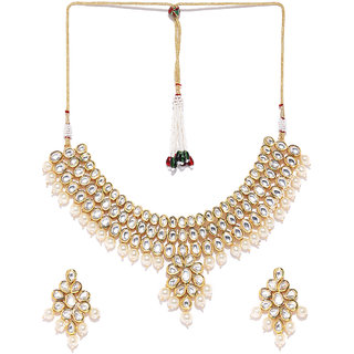 Jewels Galaxy Attractive Kundan  Pearls Studded Exquisite Multi-Strand Gold Plated Traditional Necklace Set For Women/G