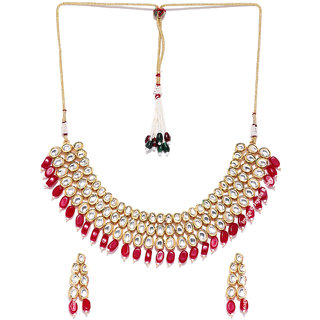 Jewels Galaxy Delicate Kundan Studded  Red Beads Attractive Multi-Strand Gold Plated Traditional Necklace Set For Women