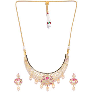 Jewels Galaxy Elegant AAA Zircon  Pearls Drops Design Delicate Gold Plated Traditional Long Necklace Set For Women/Girl
