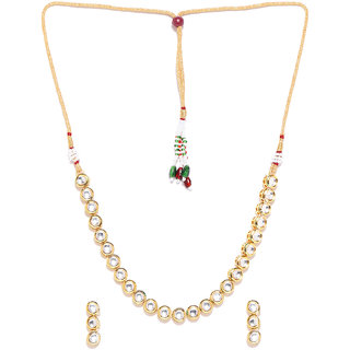 Jewels Galaxy Delicate Kundan Studded Single-Strand Gold Plated Traditional Light-Weight Necklace Set For Women/Girls