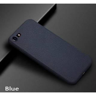 iPhone X Blue Leather Finished Primium Quality PU Litchi Back Case Cover