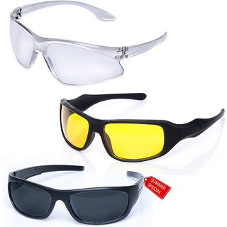8d5ce01d98 Pack of 3 Day Night Vision Riding glasses Anti Scratch Coated driving  glasses