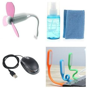 Combo Of Cleaning Kit And Mouse And Usb Fan And Usb Lig