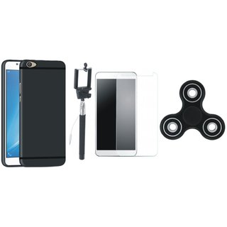 Vivo V5 Plus Silicon Anti Slip Back Cover with Free Spinner, Selfie Stick and Tempered Glass