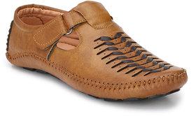Real Blue men TAN Leather 1088 Casual Sandal