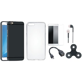 Vivo V5 Plus Silicon Anti Slip Back Cover with Spinner, Silicon Back Cover, Tempered Glass, Earphones and OTG Cable