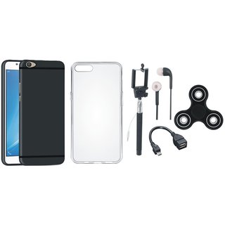 Vivo V5 Plus Silicon Anti Slip Back Cover with Spinner, Silicon Back Cover, Selfie Stick, Earphones and OTG Cable