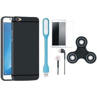 Vivo V5 Plus Back Cover with Spinner, Tempered Glass, Earphones and USB LED Light