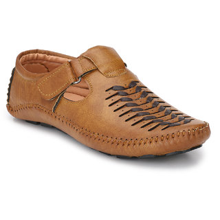 Real Blue men TAN Leather 1088 Casual Sandal