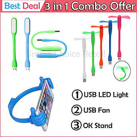 Usb Fan Usb Led Light Ok Mobile Stand Combo
