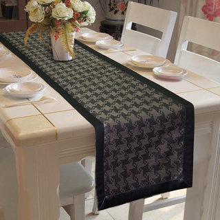 Lushomes Black & Grey Table Runner with High Quality Polyester Border (Size: 16 x72 ) single piece
