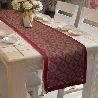 Lushomes Maroon Jacquard Design 2 Table Runner with High Quality Polyester Border (Size: 16 x72 ) single piece