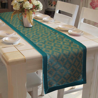 Lushomes Light Blue Jacquard Design 3 Table Runner with High Quality Polyester Border (Size: 16 x72 ) single piece