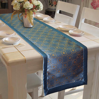 Lushomes Light Blue Jacquard Design 2 Table Runner with High Quality Polyester Border (Size: 16 x72 ) single piece