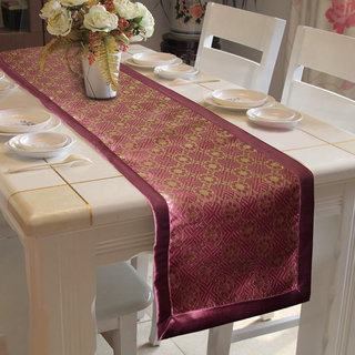 Lushomes Pink Jacquard Design 2 Table Runner with High Quality Polyester Border (Size: 16 x72 ) single piece