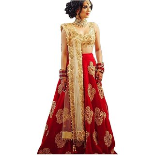 Florence Red Taffeta Embroidered Semi Stitched Lehenga Choli