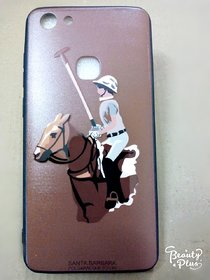 Premium 3D printed Santa Barbara Polo  Racquet club  back cover for Vivo V7-(brown color)