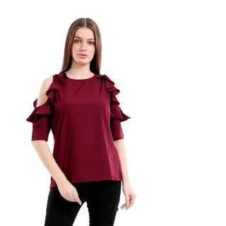 56d9125efbcc8c Girls Shopping Crepe Maroon Cold Shoulder Ruffled Sleeves Top For  Girls Women