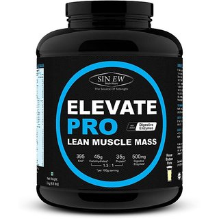 Sinew Nutrition Elevate Pro Lean Muscle Mass Gainer Protein Powder with Digestive Enzymes - 3Kg Kesar Badam Pista