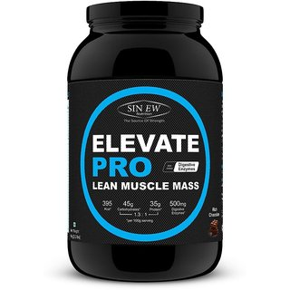 Sinew Nutrition Elevate PRO Lean Muscle Mass Gainer Protein Powder with Digestive Enzymes Rich Chocolate 1Kg