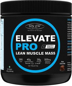 Sinew Nutrition Elevate PRO Lean Muscle Mass Gainer Protein Powder with Digestive Enzymes, Rich Chocolate, 300gm