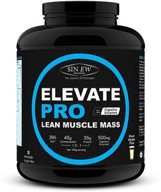 Sinew Nutrition Elevate Pro Lean Muscle Mass Gainer Protein Powder with Digestive Enzymes - 2Kg Kesar Badam Pista