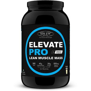 Sinew Nutrition Elevate Pro Lean Muscle Mass Gainer Protein Powder with Digestive Enzymes - 1Kg Vanilla