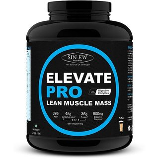 Sinew Nutrition Elevate Pro Lean Muscle Mass Gainer Protein Powder with Digestive Enzymes - 3 Kg Coffee