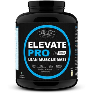 Sinew Nutrition Elevate Pro Lean Muscle Mass Gainer Protein Powder with Digestive Enzymes - 2Kg Vanilla