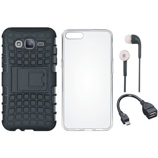 Redmi 4 Defender Tough Hybrid Shockproof Cover with Silicon Back Cover, Earphones and OTG Cable