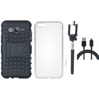 Redmi 4 Defender Tough Hybrid Shockproof Cover with Silicon Back Cover, Selfie Stick and USB Cable