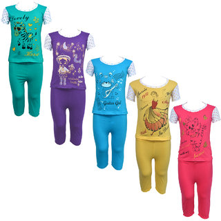 Eazy Trendz Baby Girls Gorgeouse Printed Half Sleeve Top  Bottom Tshirt and Pant Super Set of 5
