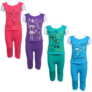Eazy Trendz Girls Gorgeous Printed Half Sleeve Top  Bottom Tshirt and Pant Super Set of 4