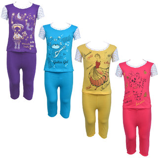 Eazy Trendz Baby Girls Gorgeouse Printed Half Sleeve Top  Bottom Tshirt and Pant Super Set of 4
