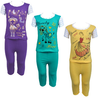Eazy Trendz Baby Girls Gorgeouse Printed Half Sleeve Top & Bottom Tshirt and Pant Super Set of 3