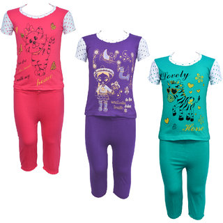 Eazy Trendz Baby Girls Gorgeouse Printed Half Sleeve Top  Bottom Tshirt and Pant Super Set of 3