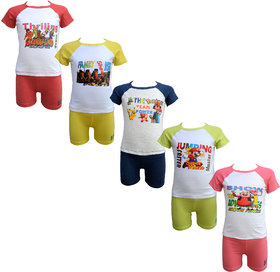 Eazy Trendz Gorgeous Born Baby Boys  Girls Unisex Half Sleeve Tshirt and Trouser Set of 50-6 Month