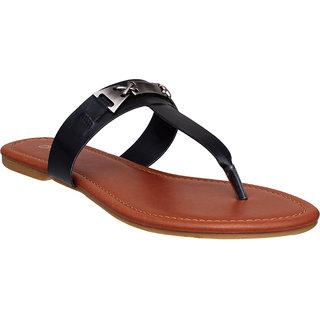 Flora Comfort Black Flat Sandal