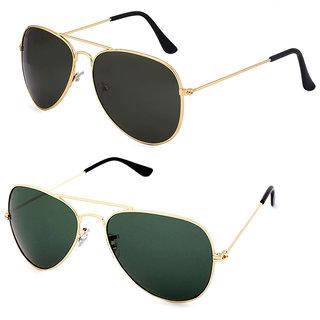 Royal Son Green Aviator and Black Aviator Unisex Sunglasses Combo